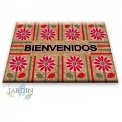 Doormat 40x60 cm welcome pink flowers