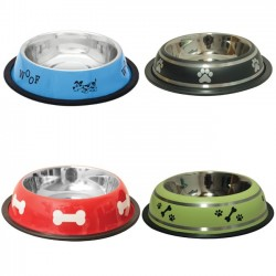 Stainless steel non-slip rubber dog bowl