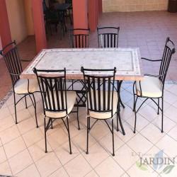 Conjunto mármol mesas y sillas de jardín Denia