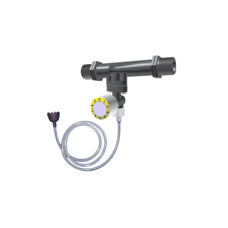 Inyector venturi de fertilizante 50Ø 12mm con llave dosificadora