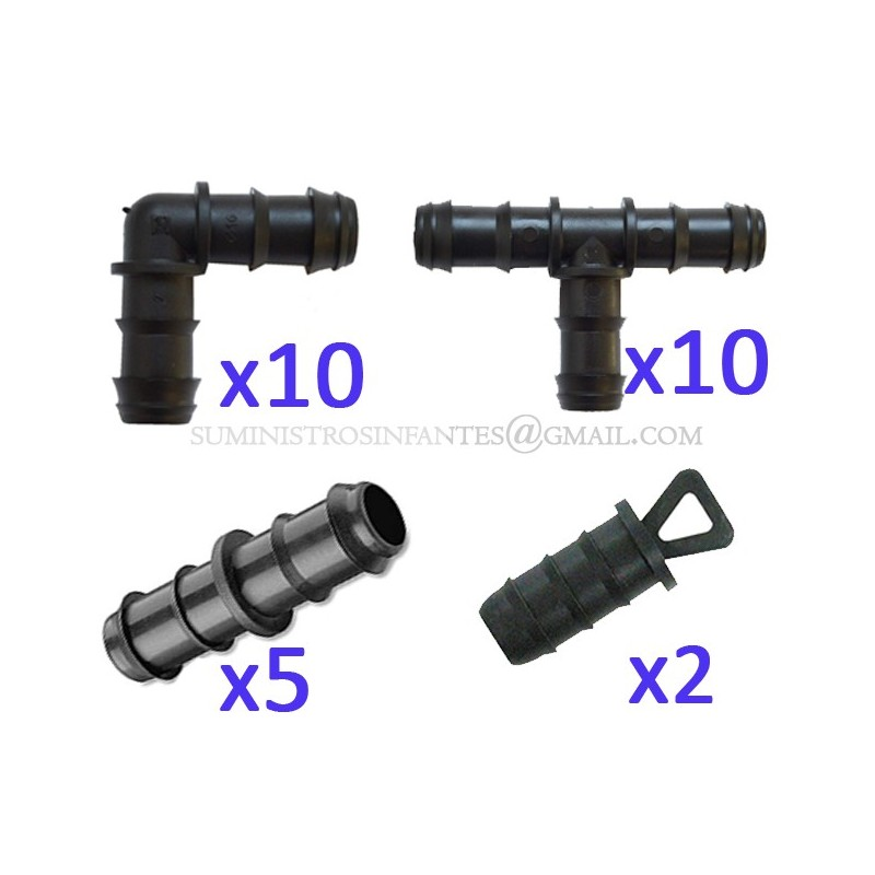 Pack Riego por goteo 16mm: 10 te + 10 codo + 5 enlace + 2 tapón. Color negro