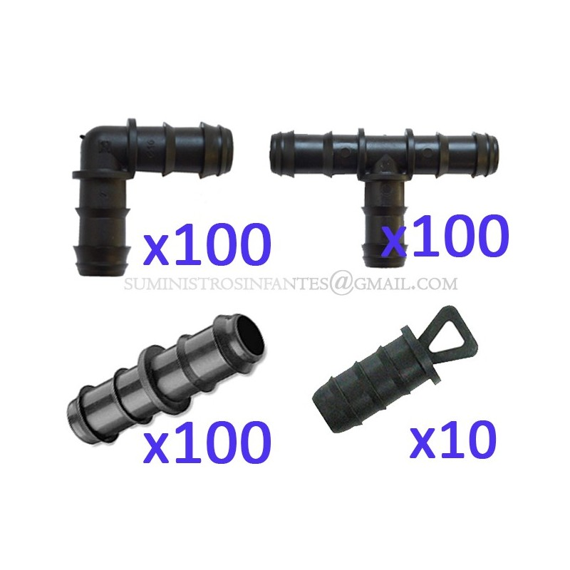 Pack Riego por goteo 16mm: 100 te + 100 codo + 100 enlace + 10 tapón. Color negro
