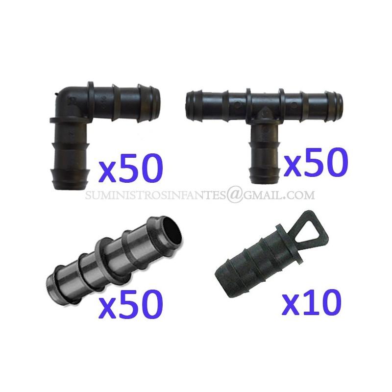 Pack Riego por goteo 16mm: 50 te + 50 codo +50 enlace + 10 tapón. Color negro