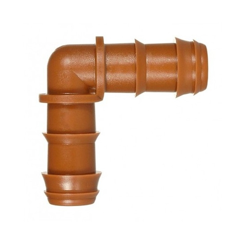 Drip irrigation elbow 16mm brown