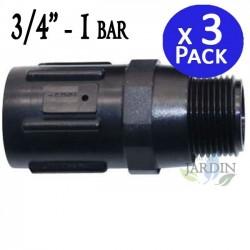 """Regulador de presión 3/4"""". Presión salida 1 bar-15psi. 3 unidades"""