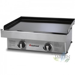 Stainless gas plate, 2 burners 62x50x23 cm